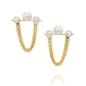 3 pearl earrings