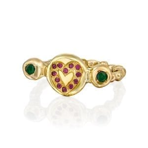 Romantic ring with rubies and emeralds